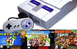 ON SALE NOW! (Super Nintendo Console + Mario World, Mario Kart & Donkey Kong) $169.95 W/FREE U.S. SHIPPING! - - AllStarVideoGames.com