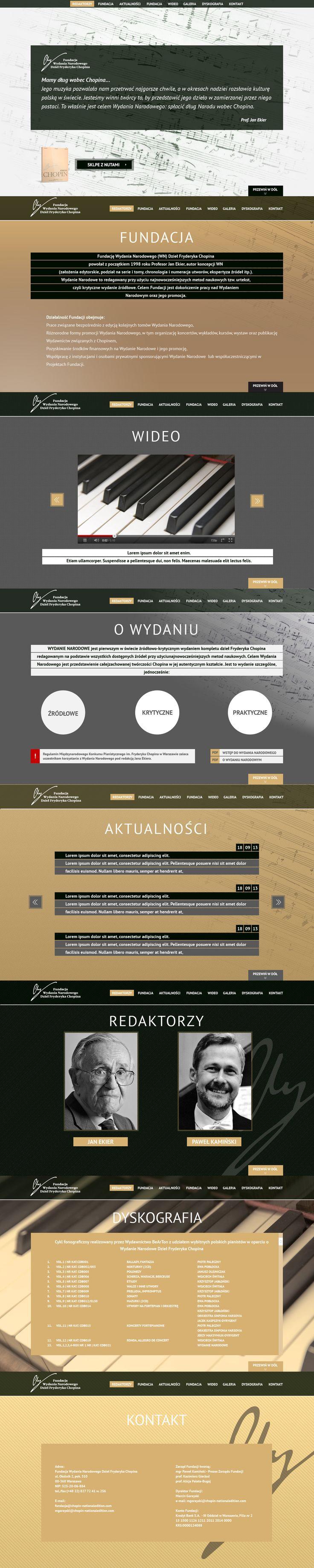 Projekt strony WWW dla Fundacji Wydania Narodowego Dzieł Fryderyka Chopina. Projekt ostateczny.