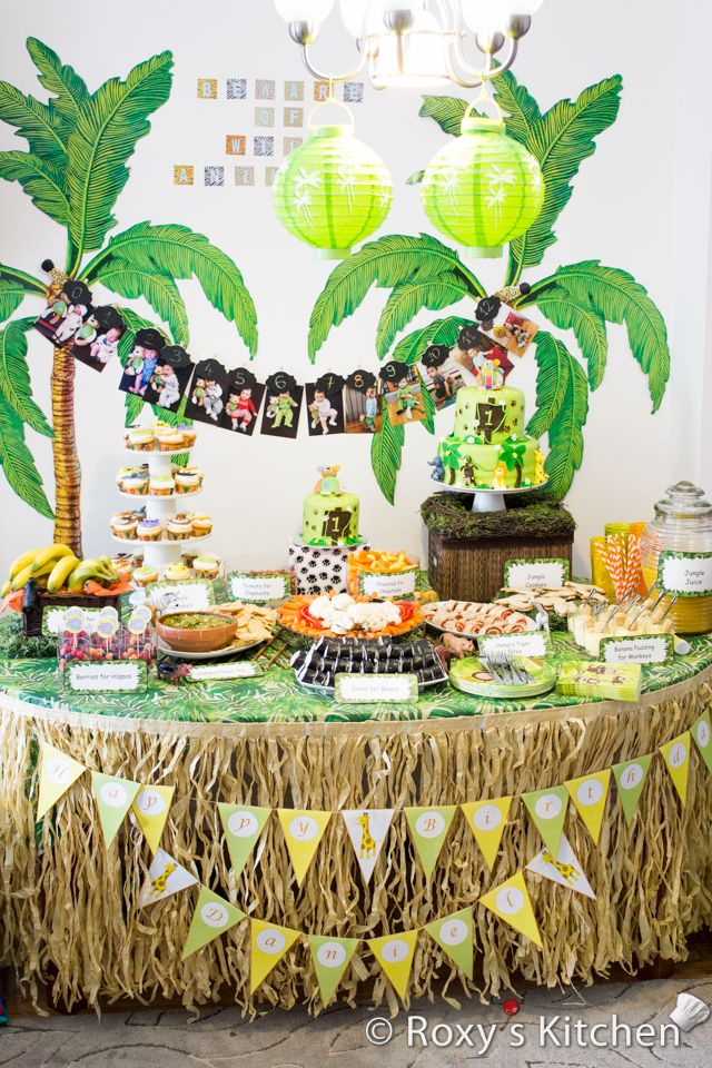 Safari jungle themed first birthday party 1st birthday for Table design jungle