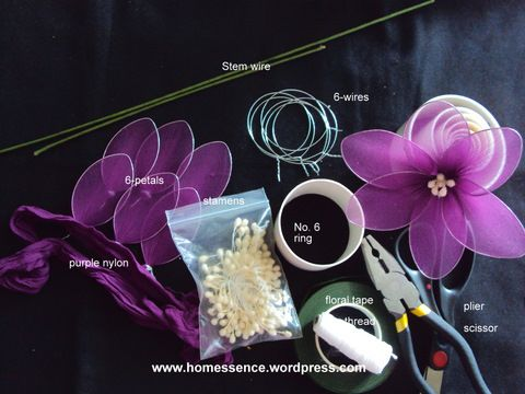 How to make a wire and nylon flower