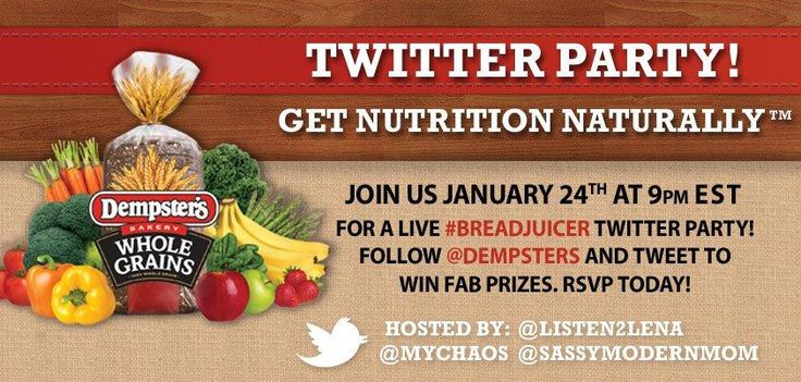 Join us January 24th at 9pm on Twitter for a live #breadjuicer Twitter Party. Follow @Dempsters & RSVP for your chance to WIN some of the over $1,000 in prizes we are giving away!