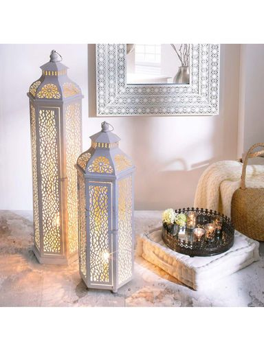 Ein wunderschönes, gemütliches Lichterspiel erwartet Sie in Ihren vier Wänden mit diesen Stehleuchten in Weiß!