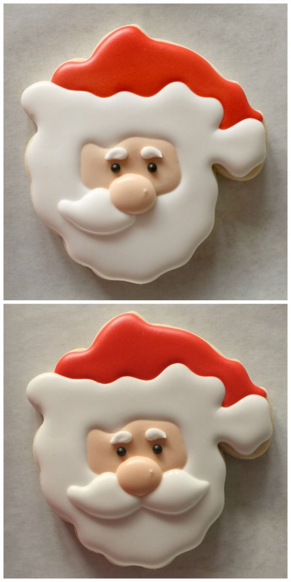 Use a turkey shaped cookie cutter to make this cute Santa cookie. (Step by step instructions).