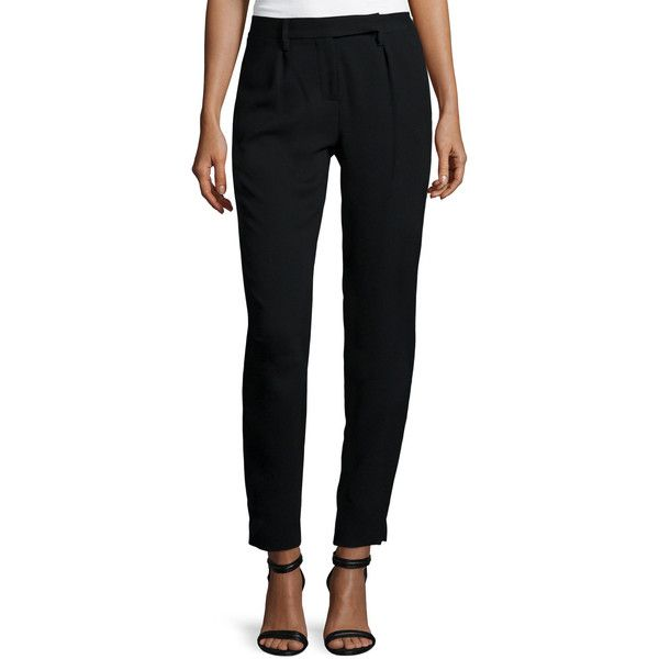 Halston Heritage Slim-Fit Ankle Pants (€180) ❤ liked on Polyvore featuring pants, capris, black, ankle length pants, ankle jeans, crop pants, slim ankle pants and black trousers