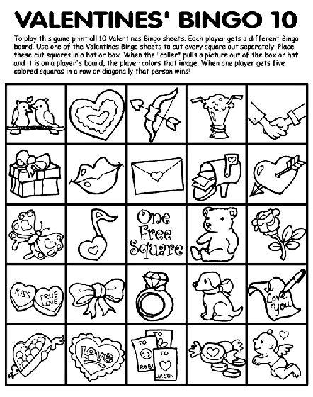 Valentineu0027s Bingo 10 Coloring Page