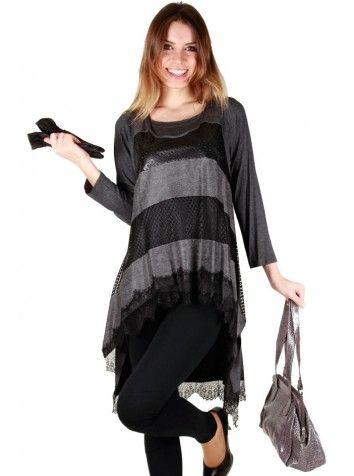 Bayan Dantelli Gri Bluz Özel Tasarım