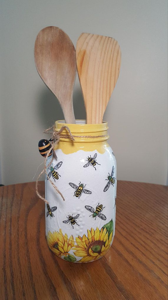 Decorate Your Home With Honey Dee And Sunflower Mason Jar Lovely As Kitchen Decor Cottage Decor A Mason Jar Decorations Mason Jar Centerpieces Decoupage Jars