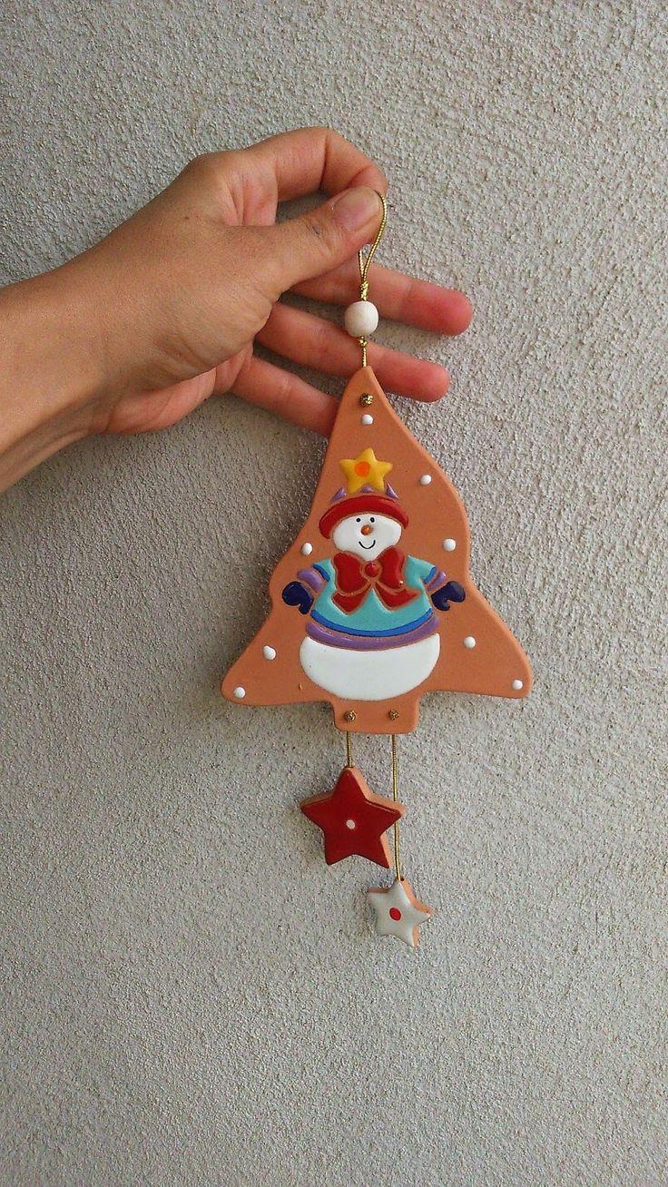 ceramica come mestiere: Decorazioni natalizie in ceramica cotto e smalto c...