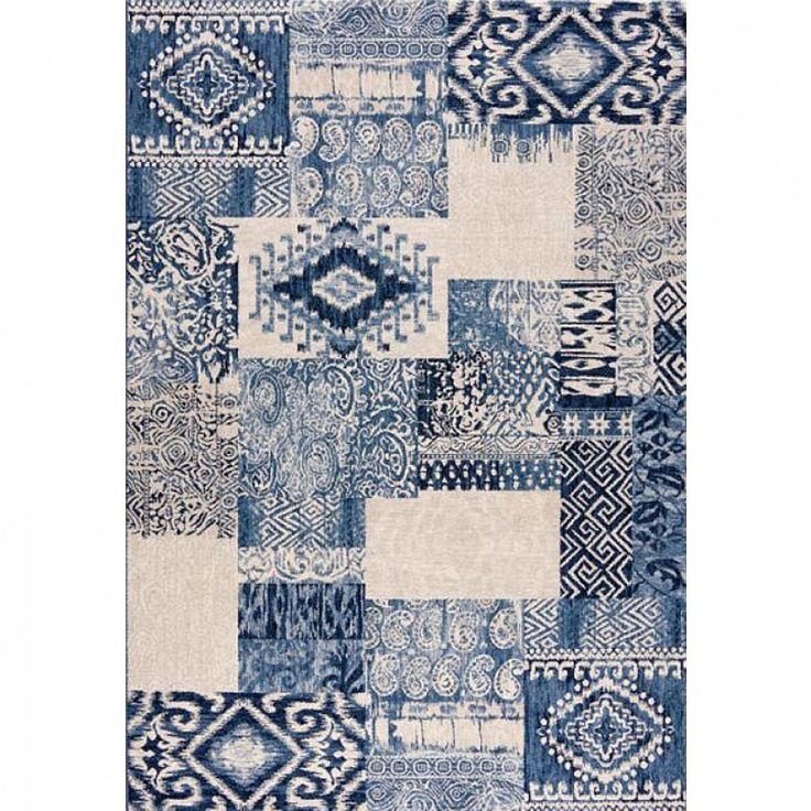Modern Aztec pattern Italian blue rug Capri by Sitap