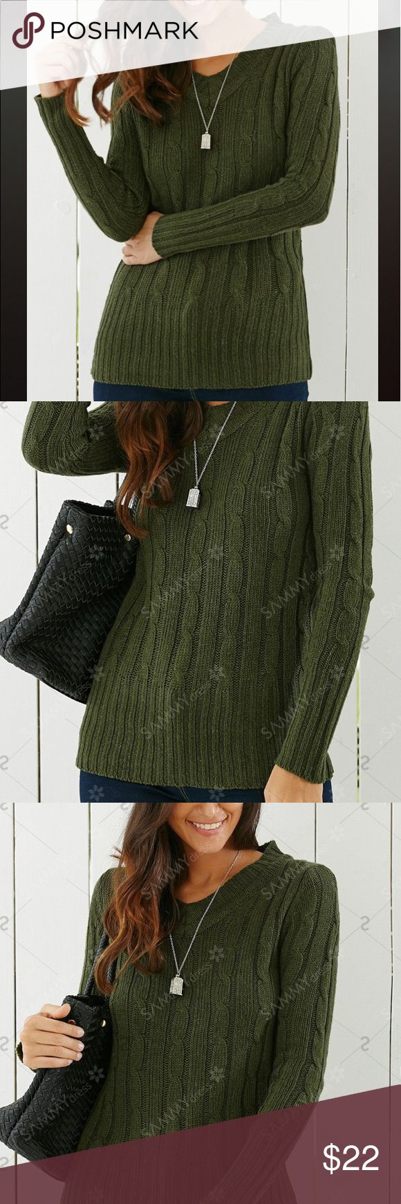 Green Cable Knit Sweater Amazing olive color. Great for fall and winter. Brand New in package. Great with leggings and skinny jeans. Casual or dressed down. Says OS but fits small and medium better. Sweaters
