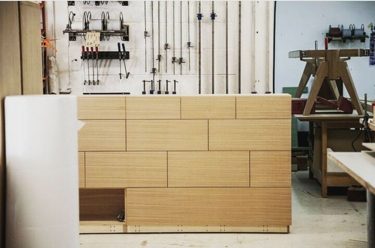 in the joiners - bespoke drawers with upholstered to rear