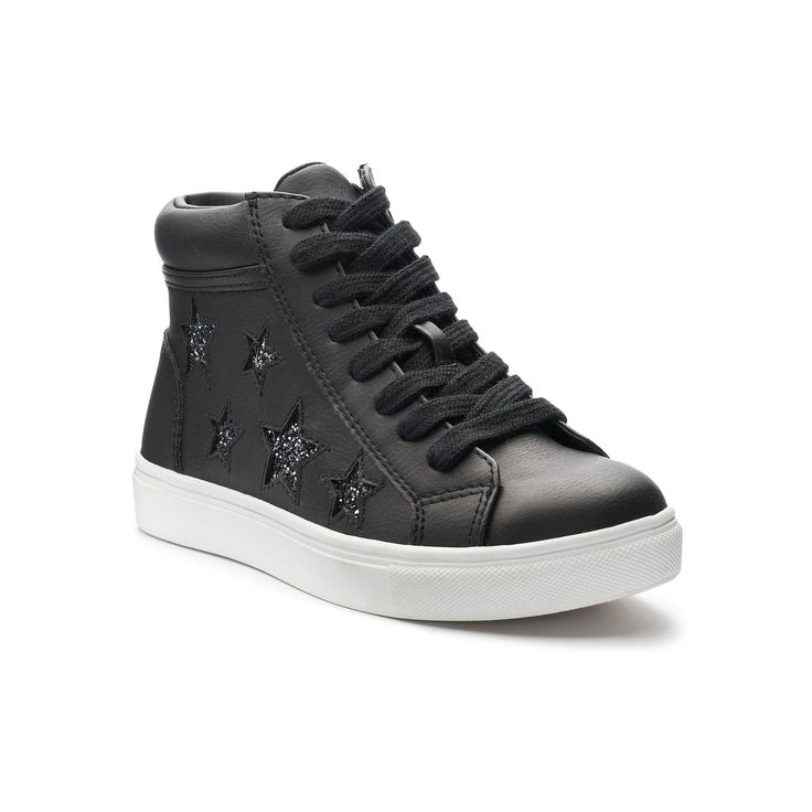 SO® Nellie Star Girls' High-Top Sneakers, Girl's, Size: 12, Black