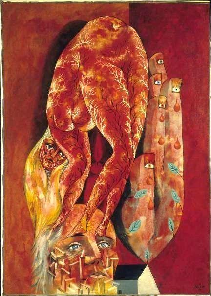 """""""L'Amour fou"""" de Pellan. En 1948, Pellan, immobilisé sur un lit d'hôpital, réalise quarante-quatre dessins inspirés du recueil de poésie de Paul Éluard: Capital de la douleur. L'oeuvre L'Amour fou illustre les premiers vers du poème L'Amoureuse.  Elle est debout sur mes paupières Et ses cheveux sont dans les miens Elle a la forme de mes mains Elle a la couleur de mes yeux Elle s'engloutit dans mon ombre Comme une pierre sur le ciel"""