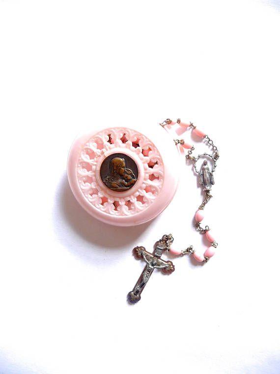 Boxed Pink Rosary Beads Italian Catholic Souvenir