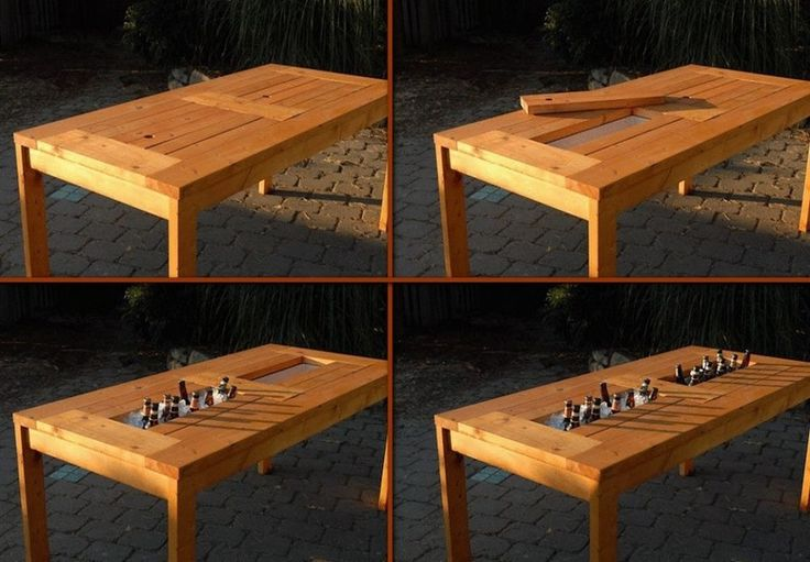 The beer drinkers out there will see the immediate benefits of this table. But the entertainers will see how useful this idea would be for keeping salads, seafood and dessert cool on a hot summer day. View more images of this project, including links to plans and instructions on our site at http://theownerbuildernetwork.co/diy-patio-table-with-built-in-beerwine-coolers/ Show us some love! A simple LIKE and SHARE will do…
