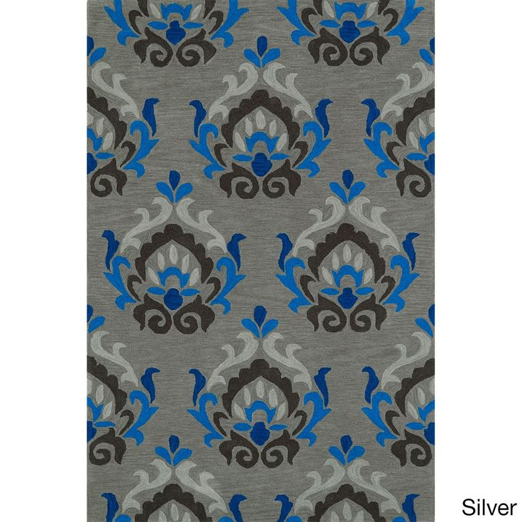 Valencia Fawn Rectangular Rug (5' x 7'6) (Valencia Silver Rectangular Rug (5'x7'6)), Blue, Size 5' x 8' (Acrylic, Abstract)