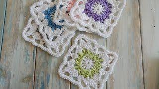 crochet flower bud granny square - YouTube