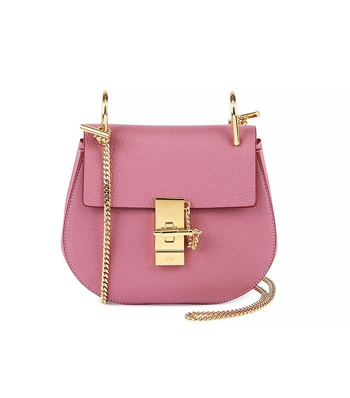 Mini bags are in: Chloé Drew Mini Chain Shoulder Bag in Pink with Gold Hardware