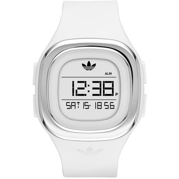 adidas Originals 'Denver' Digital Silicone Strap Watch, 42mm (£55) ❤ liked on Polyvore featuring jewelry, watches, digital wristwatch, logo watches, adidas originals watches, water resistant watches and sporty watches
