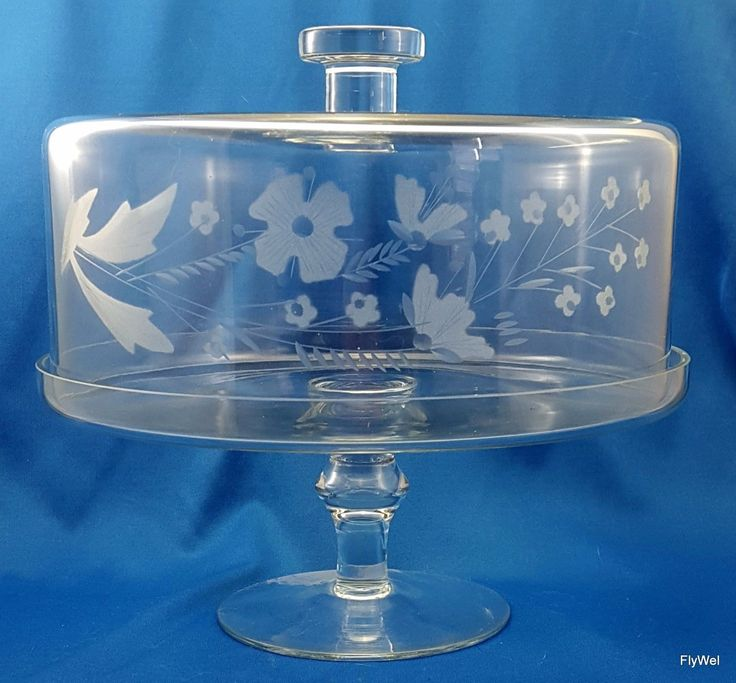 Clear glass #pedestal cake stand with floral #etched dome ...