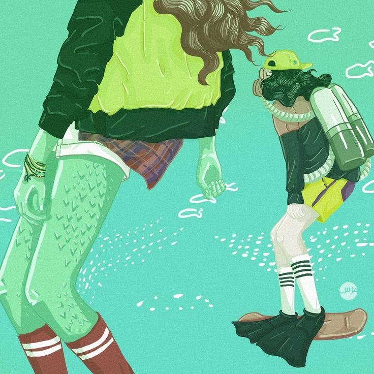 Dark Necessities - Red Hot Chili Peppers #illustration #skate #mermaid #illustratedwomen