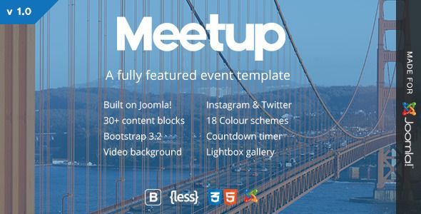 Event and Conference landing pages solved Promote your next conference or event with a clear and confident event landing page.    The casually elegant Meetup elements give the whole event theme a f...