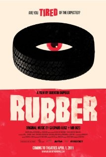 """Ridiculous movie alert. So ridiculous that I'm curious to watch it...just in good B movie kind of fun///Rubber- the movie. """"When Robert, a tire, discovers his destructive telepathic powers, he soon sets his sights on a desert town; in particular, a mysterious woman becomes his obsession."""