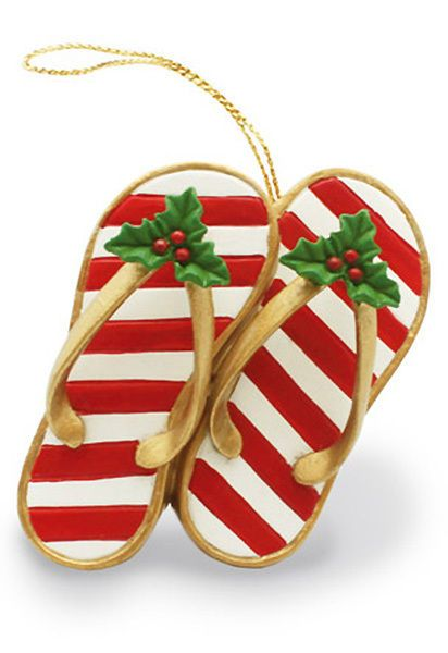 $799 - Hawaiian Christmas Ornaments Santa Claus Slippers Poly Resin