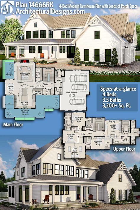 architectural designs house plan 14666rk gives you 4 beds 3 5 baths rh pinterest com