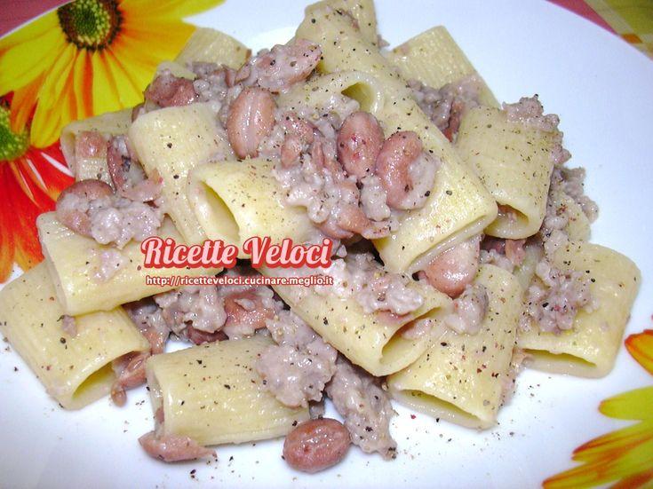 mezze maniche con fagioli borlotti e salsiccia