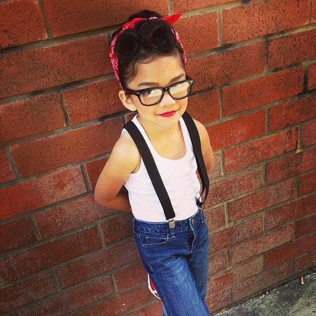 Rockabilly kid, girly dancer with a geeky flare...now to get red lipstick on Brodie.