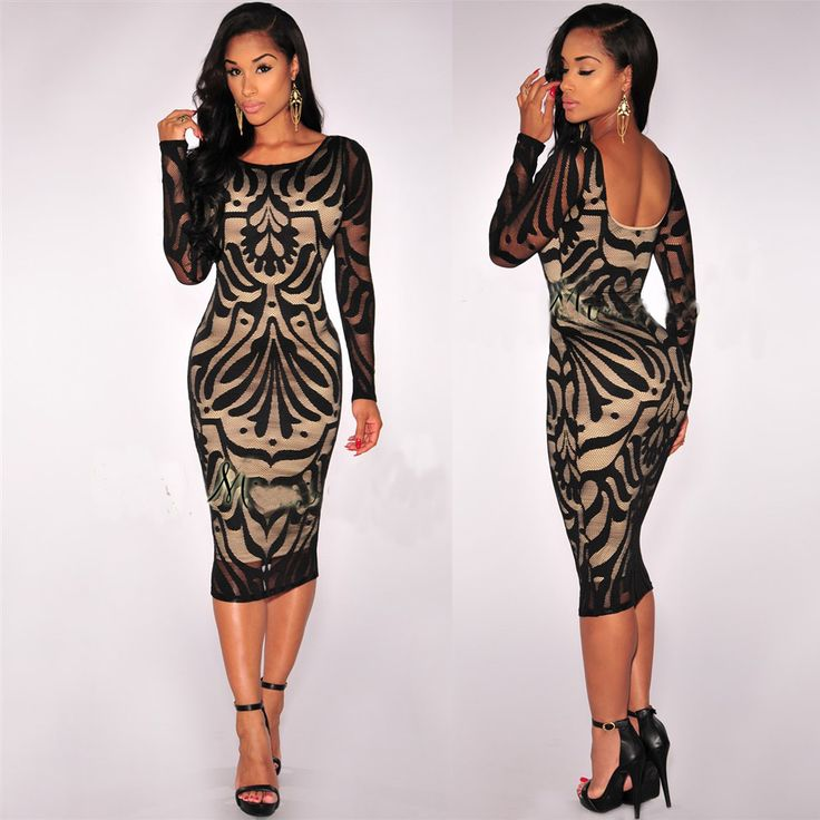 Europe New Clubwear With Lining Lace Dress Tight Package Hip Halter Dress