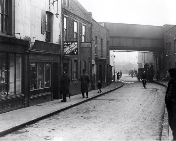 Limehouse Causeway in 1927 was the centre of London's first Chinatown as Chinese sailors settled in the area.