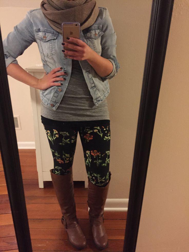 floral leggings #lularoe #ootd