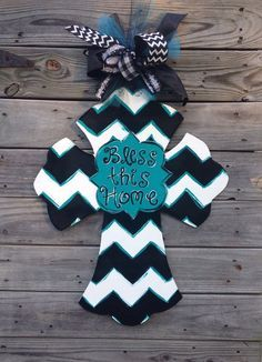 Painted wooden Cross Door Hanger with ribbon and chevron Blessed design.