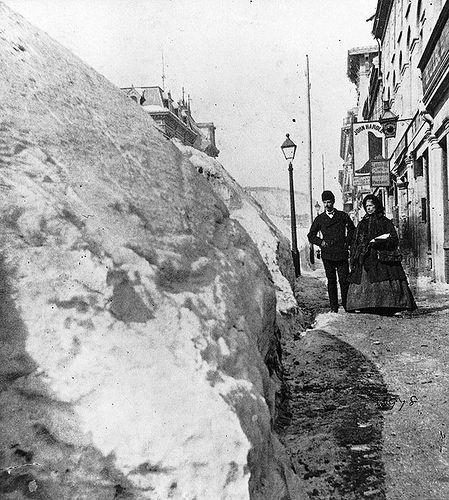 Snow banks on McGill Street, Montreal, QC, 1869
