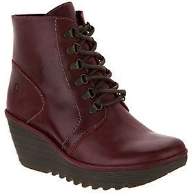 Fly London As Is Leather Lace-up Wedge Ankle Boots - Yarn