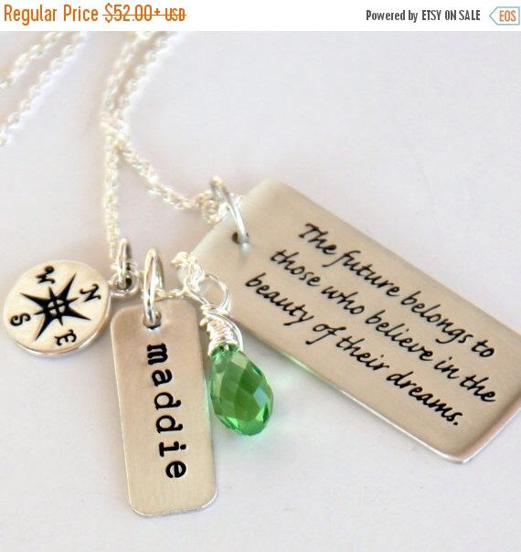 Graduation Necklace, Graduation Gift For Daughter, Compass, Dream, Believe,Class of 2016, Future Quotes for Grads, Future, Believe by whiteliliedesigns on Etsy https://www.etsy.com/listing/127519805/graduation-necklace-graduation-gift-for