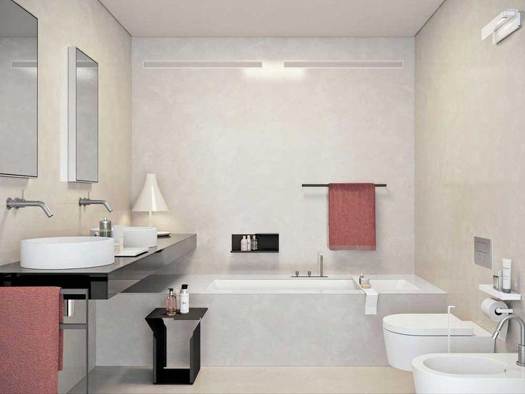 Small Modern Bathroom Design Ideas with white bathtub with white toilet bowl on ceramics flooring plus black shelf and white sink also rectangle mirror