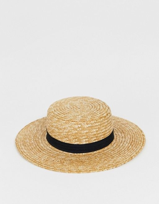 cdc6b732c South Beach straw boater hat with black ribbon in 2019 | Шляпы ...