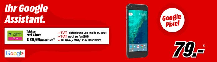 Google Pixel 32GB mit Vertrag real Allnet Telekom  im D1-Netz mit einer Allnet-Gesprächsflat in alle Netze , SMS-Flat in alle dt. Mobilfunknetze und eine  LTE Internet-Flatrate 2 GB mit bis zu 42,2 MBit/s , ab 2000MB Drosselung auf 64 kbit/sek der mit 6,45 € rechnerische monatliche Grundgebühr Vertrag wird im Telekom Netz bereitgestellt.   #Android #Smartphone #GooglePixel