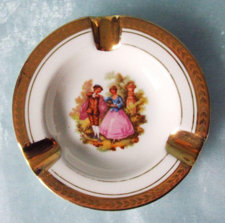 Aschenbecher H.T Limoges Porzellan elegant gold romantisch Minne Motiv Ø 10 cm