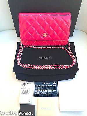 Chanel 2014 Classic Wallet On Chain Pink Fuchsia Patent Flap Handbag Cross-body