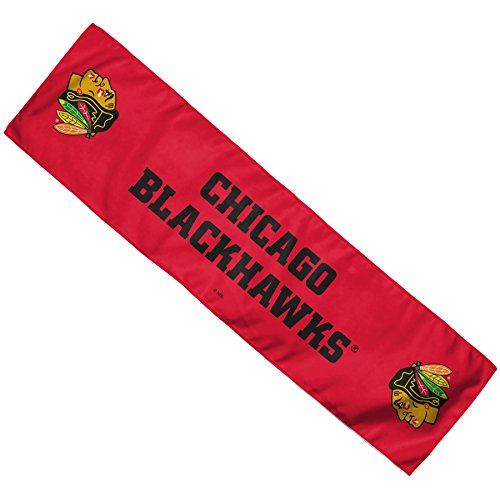 """NHL Chicago Blackhawks Cooling Towel, 8 x 30"""", Team Color  http://allstarsportsfan.com/product/nhl-chicago-blackhawks-cooling-towel-8-x-30-team-color/  Great for the gym, working outdoors, sports 100% performance polyester Cools when wet & wrung out"""