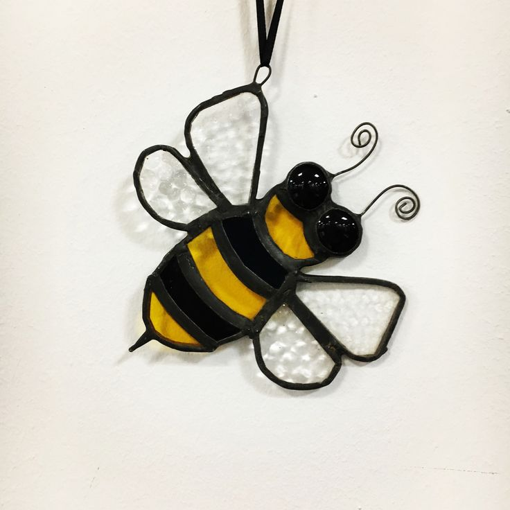 Stained glass cute bee