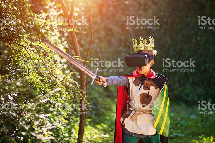 Little boy having fun playing with virtual reality headset royalty-free stock photo