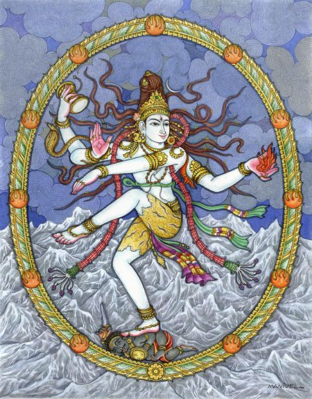 Shiva the Hindu god of destruction is also known as Nataraja  The most common figures depict a four-armed Nataraja. These multiple arms represent the four cardinal directions. Each hand either holds an object or makes a specific mudra (gesture).