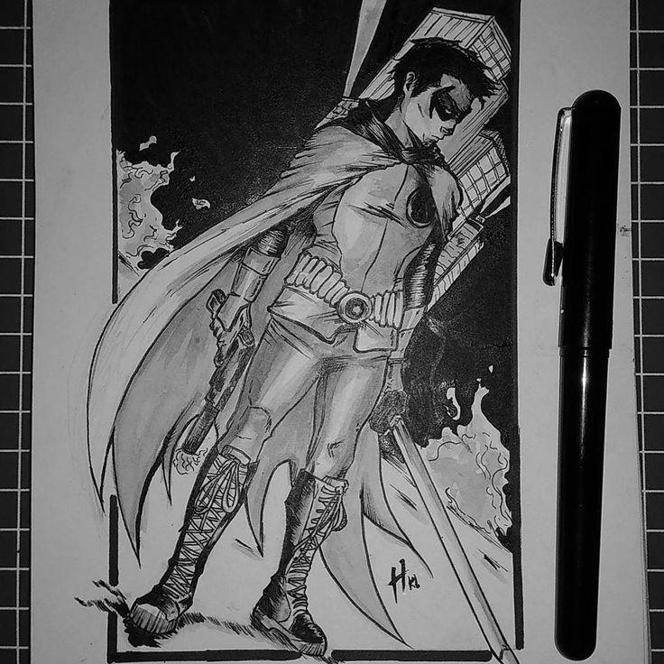 Day 4 Robin #inktoberday4 . #ink #inktober #drawing #inktoberid #brush #sketch #comic #comicart #art #artoftheday #illustration #robin #dccomics #inktober2017 #instagood #batman #sempakbatman