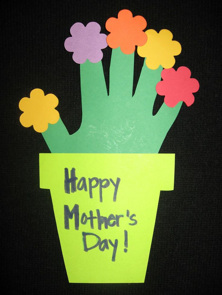 Craft Activity For Preschool Aged Children Or Older Kids Using Created Ideas Second Layer To The Flower Pot Could Be Added Make A Mothers Day Card