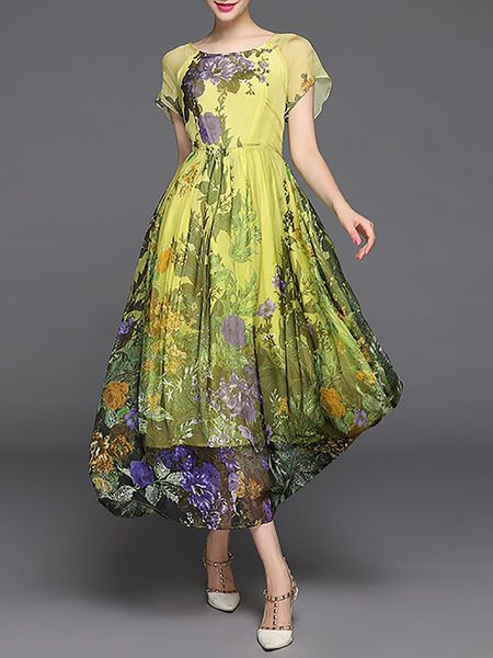 how to use silk flowers on a wedding cake stylewe casual floral print crew neck sleeve maxi 16194
